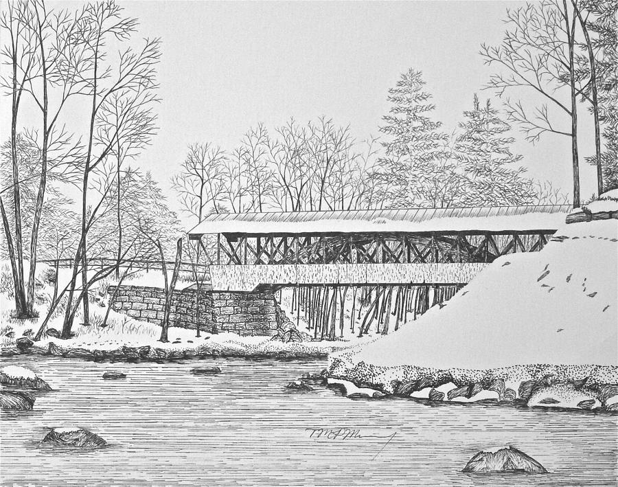 Saco River Bridge Drawing  - Saco River Bridge Fine Art Print