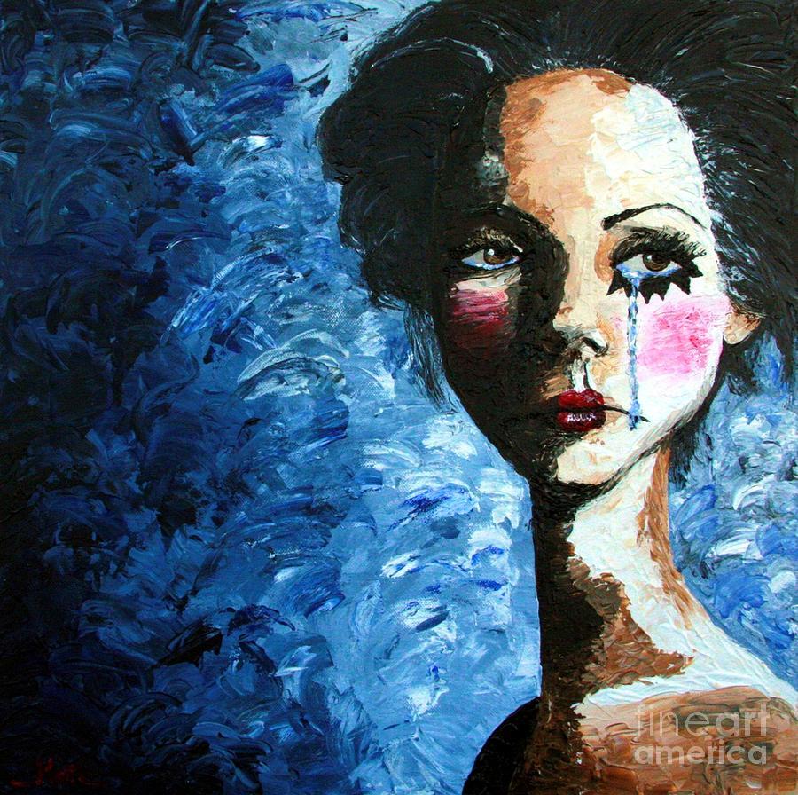 Sad Clown Girl Painting by Cris Motta | 900 x 896 jpeg 228kB