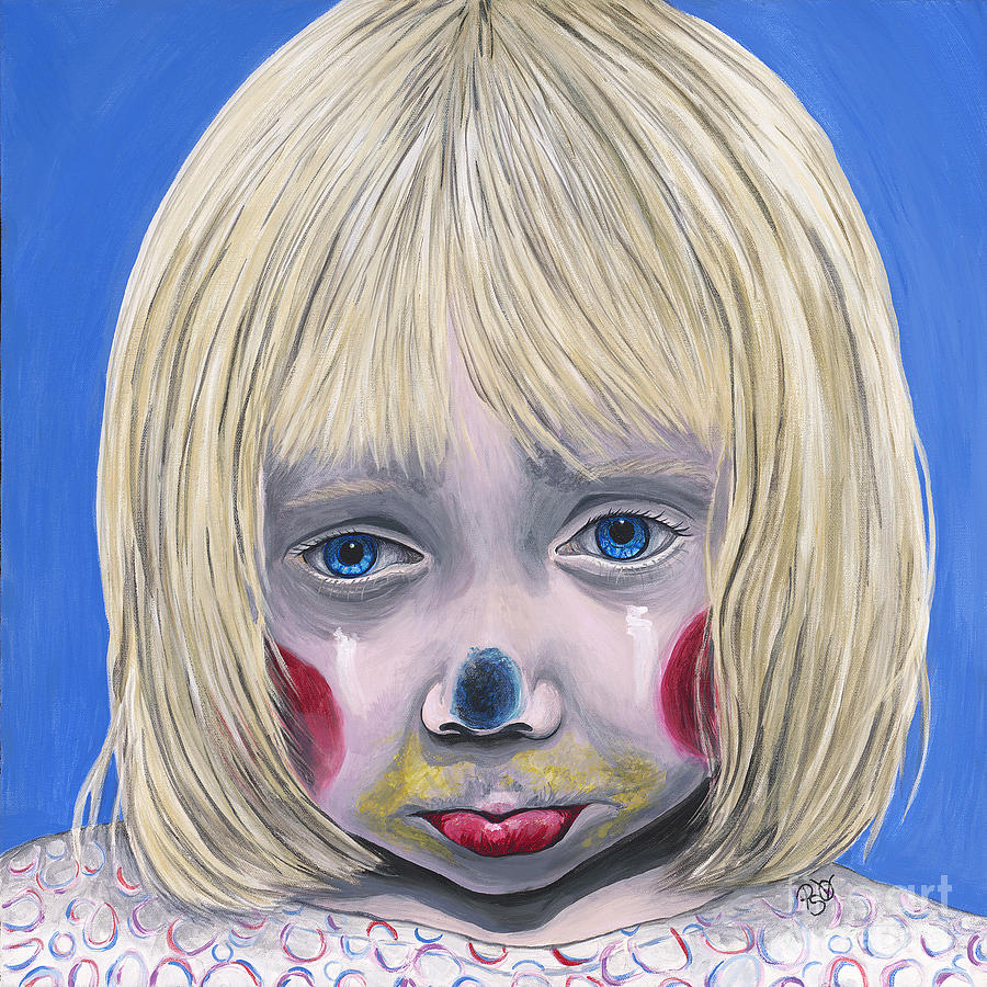 Sad Little Girl Clown Painting