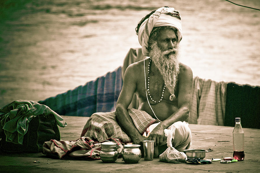 India Photograph - Sadhu At Ganges by John Battaglino