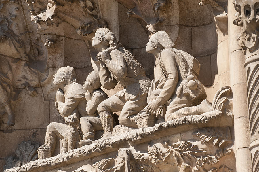 Sagrada Familia Barcelona Nativity Facade Detail Photograph