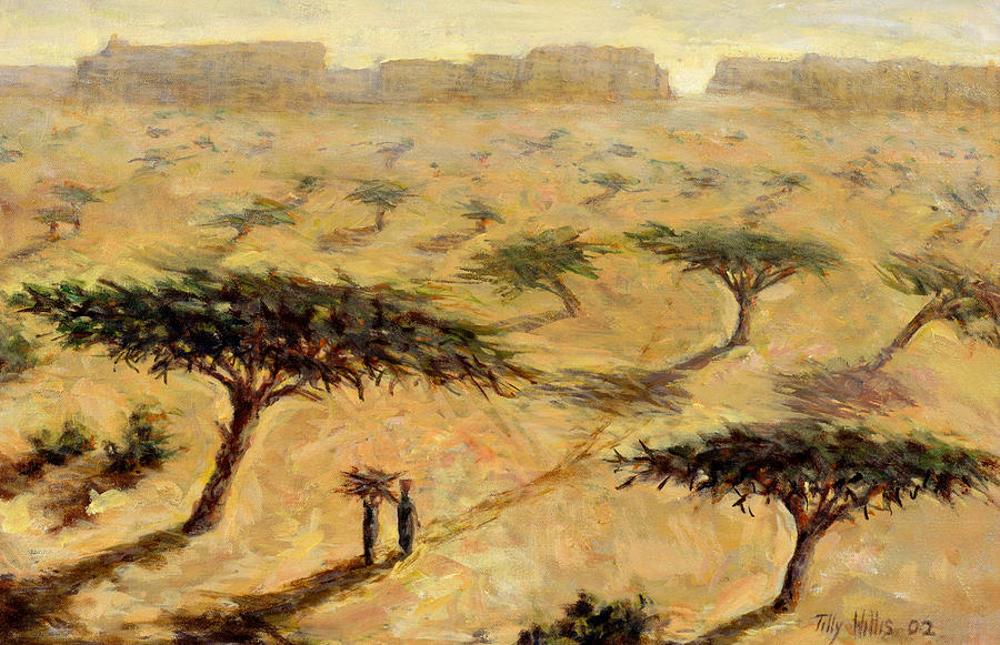 African; Arid; Tree; Acacia Trees; Plain; Plains; Barren; Dry; Shadows; Heat; Hot; Desert; Heat; Landscape; Sahelian; Acacia; Africa Painting - Sahelian Landscape by Tilly Willis