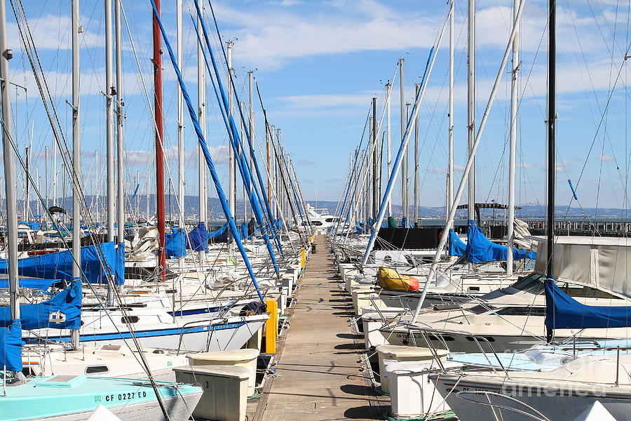Sail Boats At San Francisco China Basin Pier 42 . 7d7692 Photograph  - Sail Boats At San Francisco China Basin Pier 42 . 7d7692 Fine Art Print