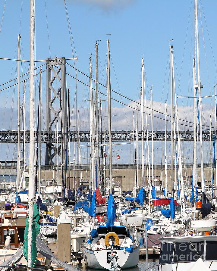 Sail Boats At San Francisco China Basin Pier 42 With The Bay Bridge In The Background . 7d7683 Photograph