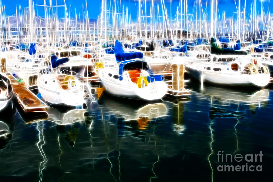 Sail Boats At San Franciscos Pier 42 . Electrified Photograph  - Sail Boats At San Franciscos Pier 42 . Electrified Fine Art Print