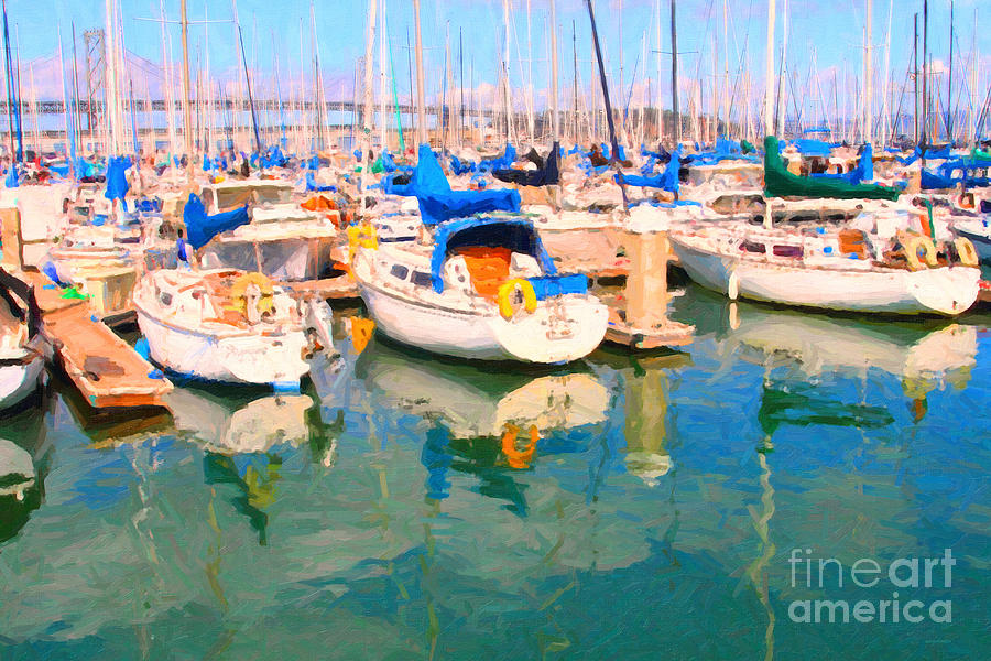 Sail Boats At San Franciscos Pier 42 Photograph  - Sail Boats At San Franciscos Pier 42 Fine Art Print