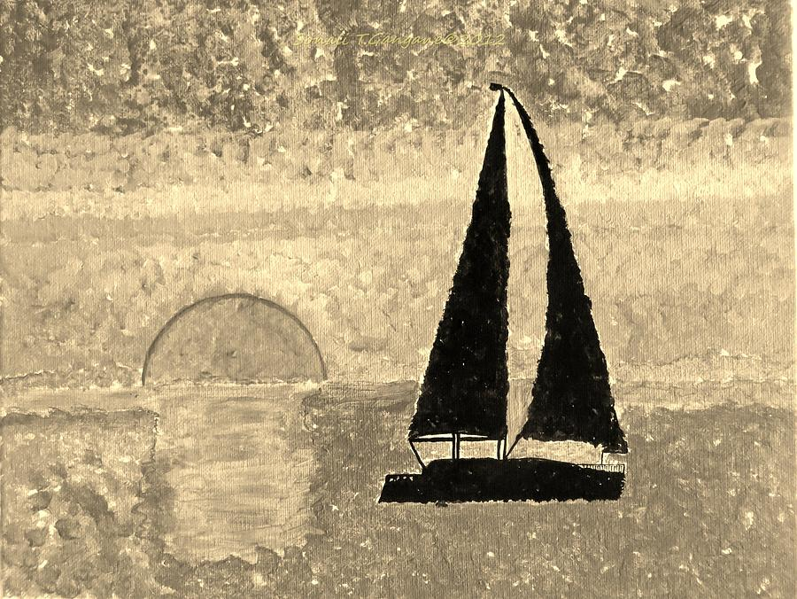 Sail In Sepia Sea Painting