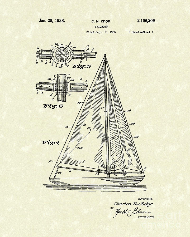 Sailboat 1938 Patent Art Drawing