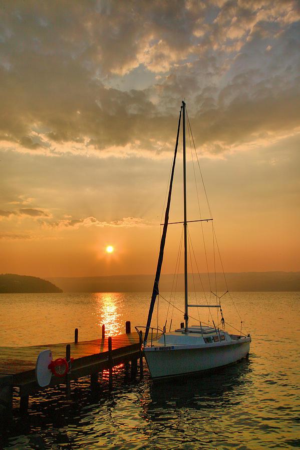 Sailboat And Sunrise Photograph