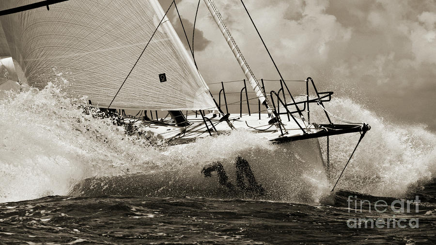 Sailboat Le Pingouin Open 60 Sepia Photograph  - Sailboat Le Pingouin Open 60 Sepia Fine Art Print