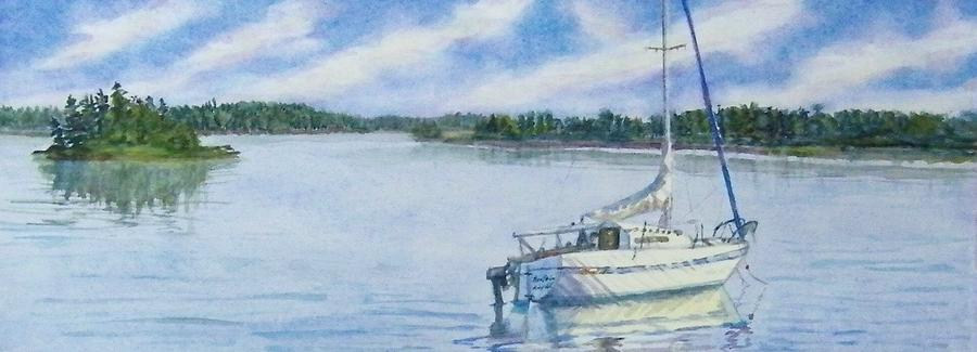 Sailboat Near Antigonish Nova Scotia Painting  - Sailboat Near Antigonish Nova Scotia Fine Art Print