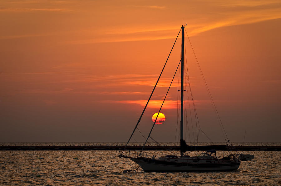 Sailboat Sunrise Chicago Photograph