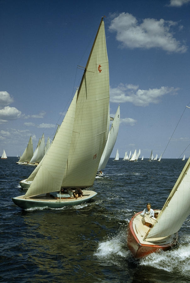 Sailboats Cross A Starting Line Photograph