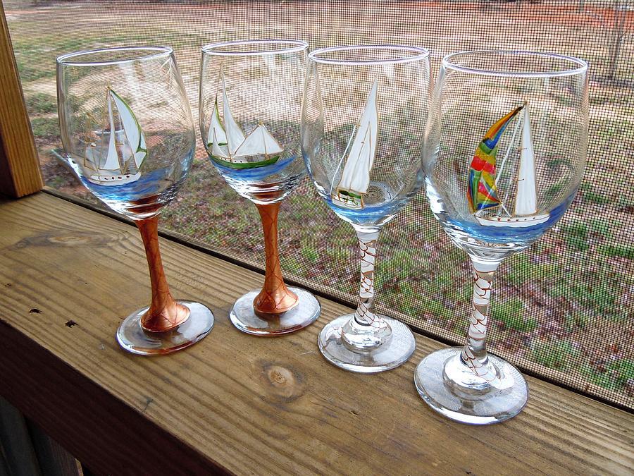 Sailboats On Glass Glass Art