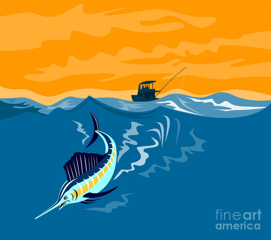 Sailfish Fish Jumping Retro Digital Art  - Sailfish Fish Jumping Retro Fine Art Print