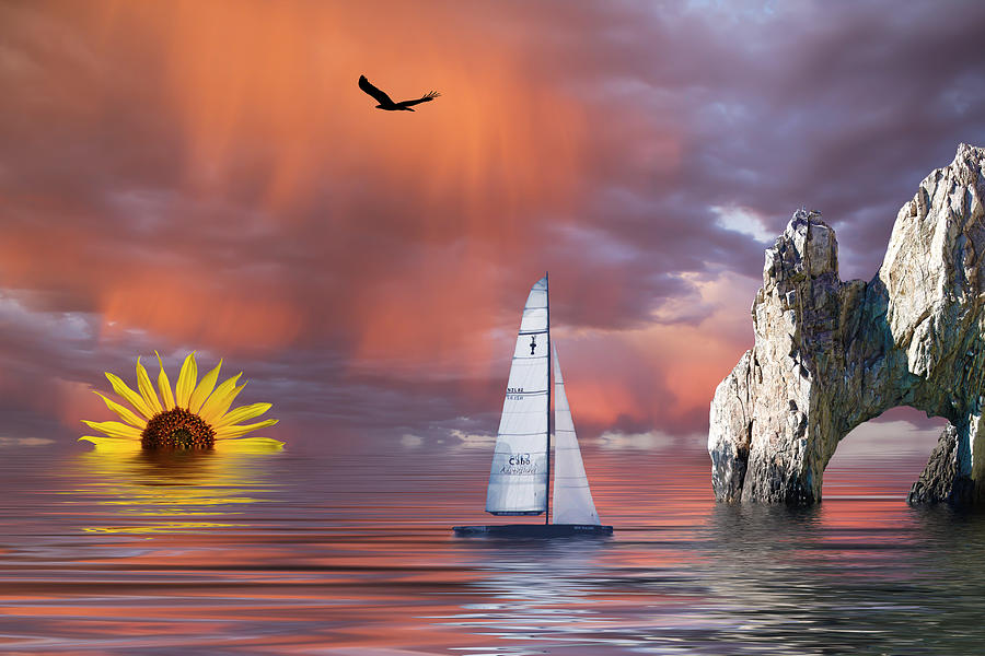 Boat Mixed Media - Sailing At Sunset by Shane Bechler