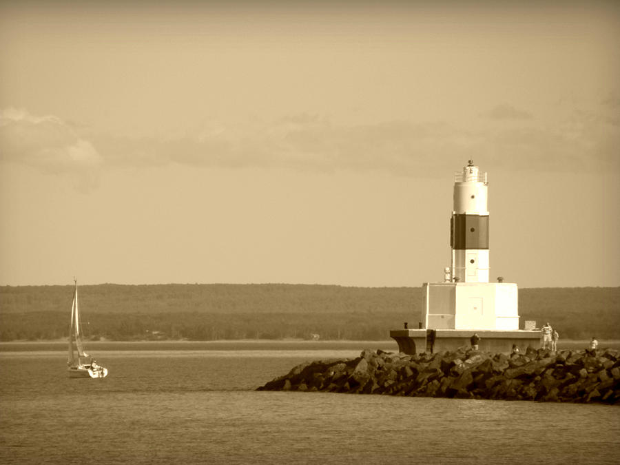 Sailing By The Marquette Presque Isle Lighthouse Photograph  - Sailing By The Marquette Presque Isle Lighthouse Fine Art Print