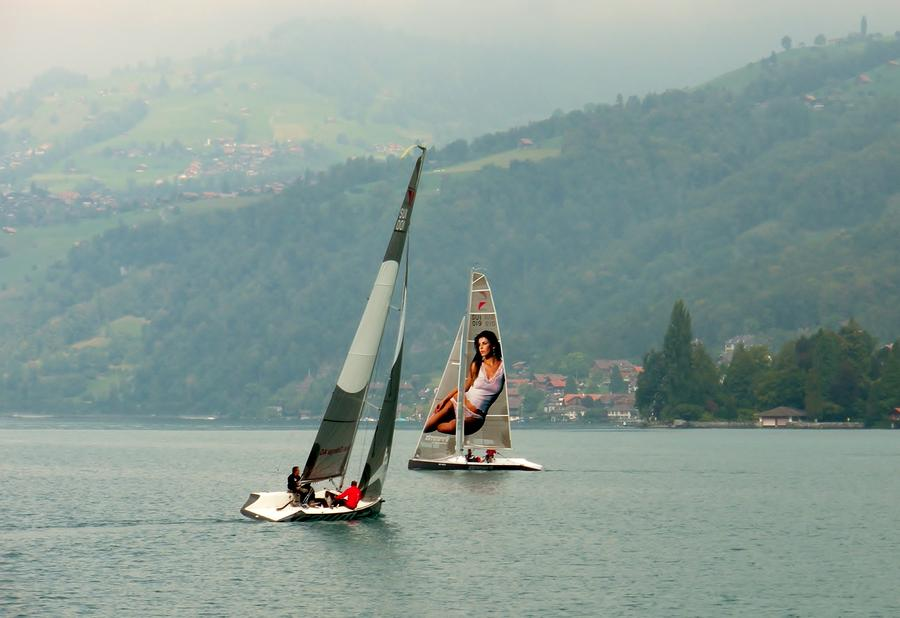 Sailing On Lake Thun Switzerland Photograph