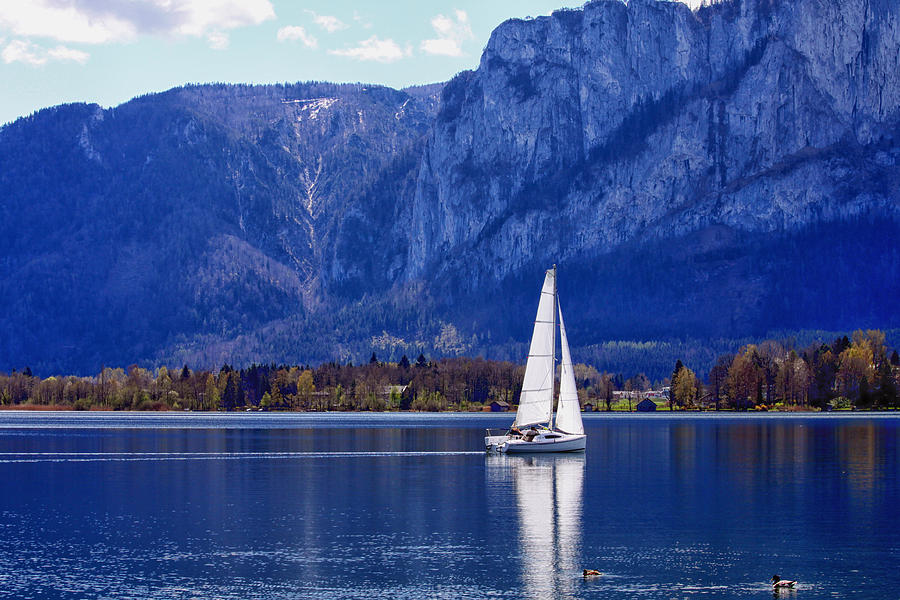 Sailing On Mondsee Lake Photograph  - Sailing On Mondsee Lake Fine Art Print