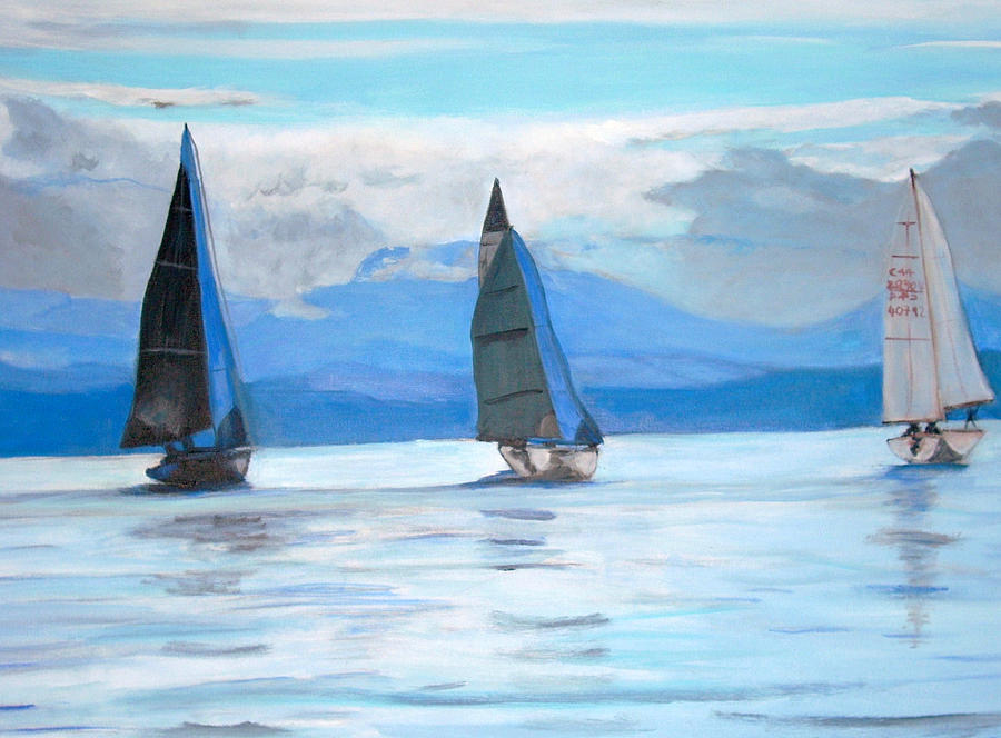 Sailing Race In Vancouver Island Painting