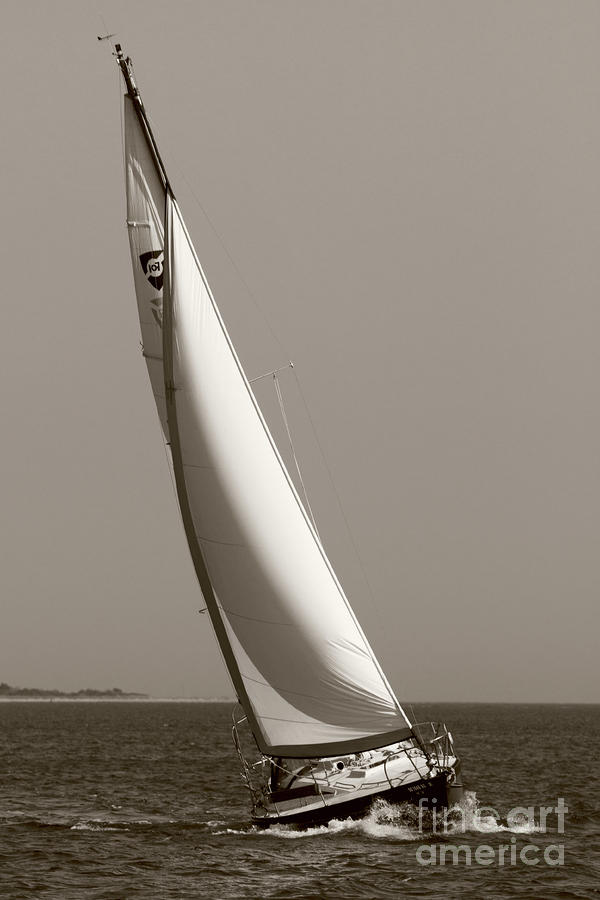 Sailing Sailboat Sloop Beating To Windward Photograph  - Sailing Sailboat Sloop Beating To Windward Fine Art Print
