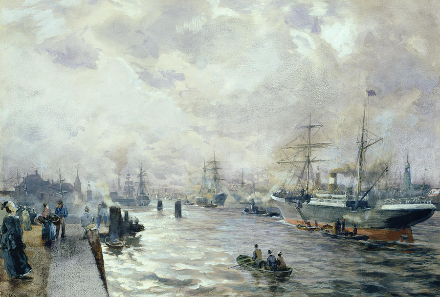 Sailing Ships In The Port Of Hamburg Painting  - Sailing Ships In The Port Of Hamburg Fine Art Print