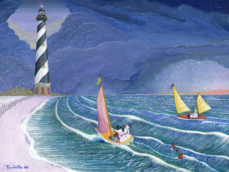 Sailing Snowmen Painting