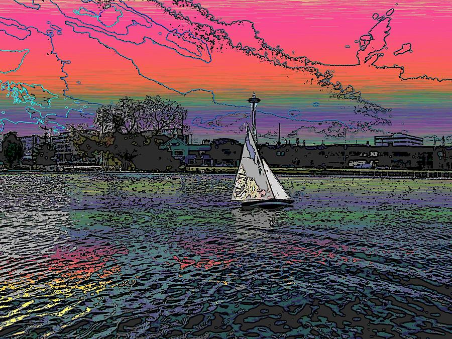 Sailing South Lake Union Digital Art  - Sailing South Lake Union Fine Art Print