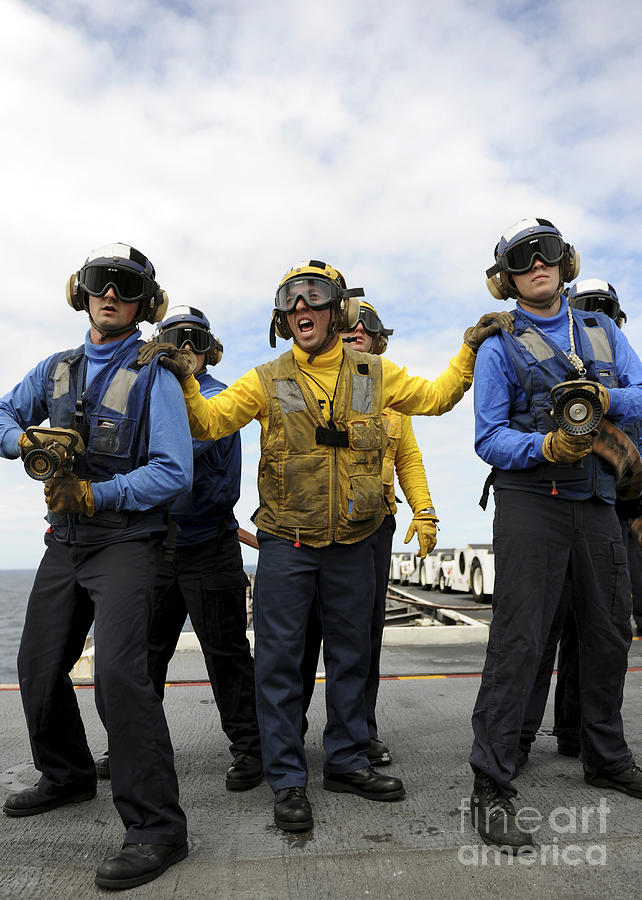 Sailors Fight A Simulated Fire Aboard Photograph