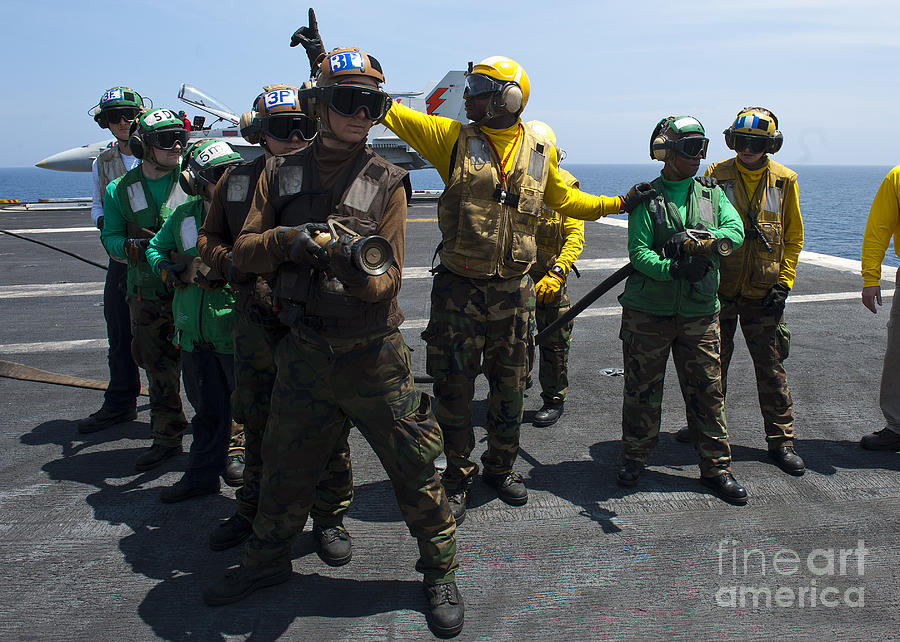 Sailors Fight A Simulated Fire Drill Photograph