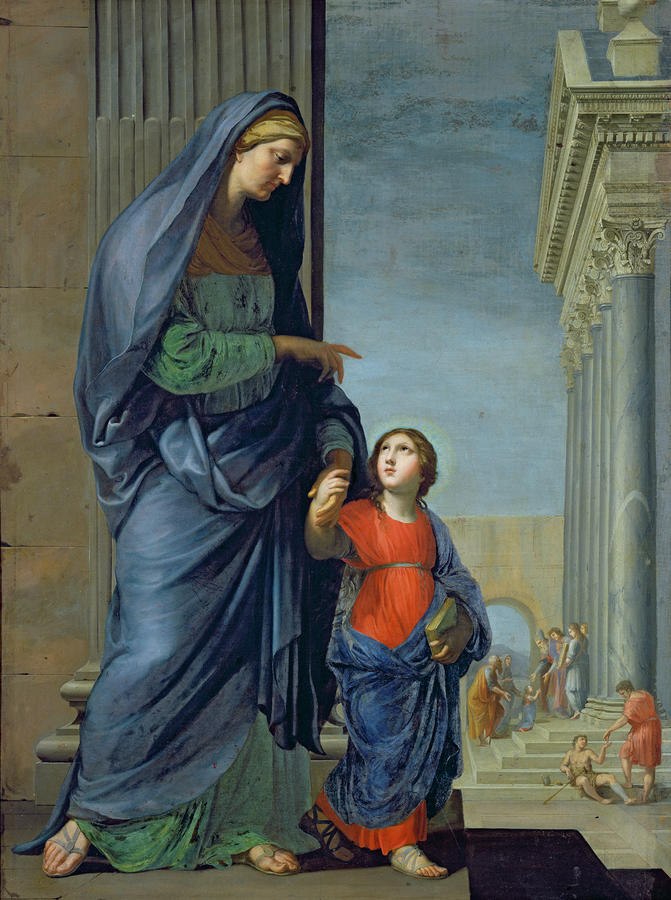 Saint Anne Leading The Virgin To The Temple Painting  - Saint Anne Leading The Virgin To The Temple Fine Art Print