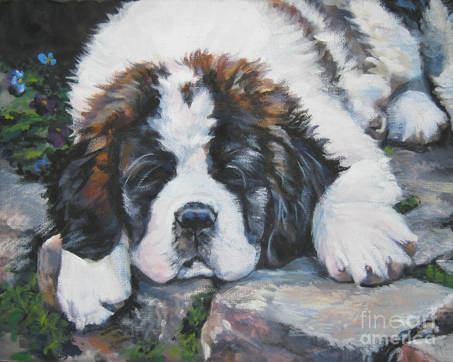 Saint Bernard Pup Painting  - Saint Bernard Pup Fine Art Print