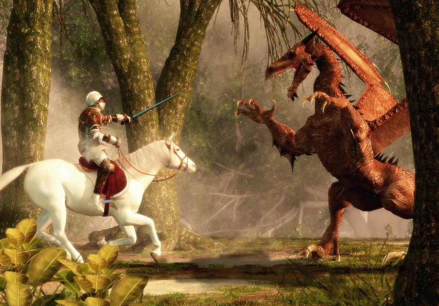 Saint George And The Dragon Digital Art by Daniel Eskridge