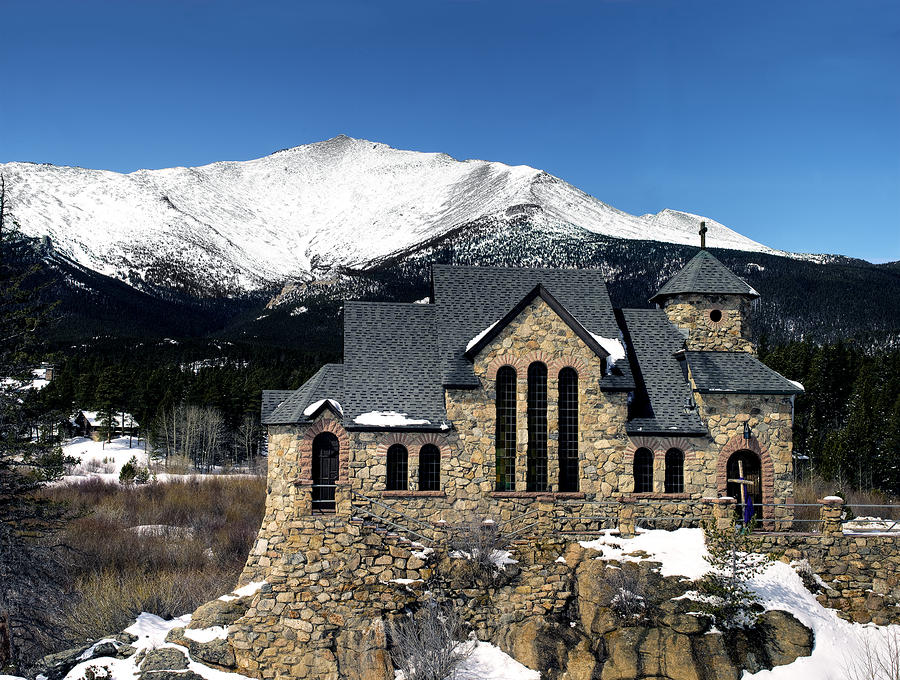 Saint Malo Church And Mount Meeker In Colorado by Brendan Reals