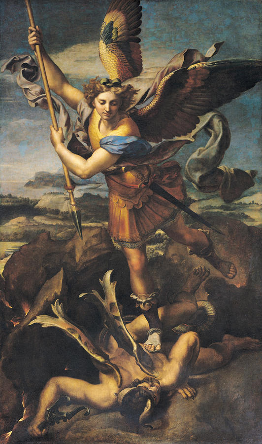 Saint Michael Overwhelming The Demon Painting