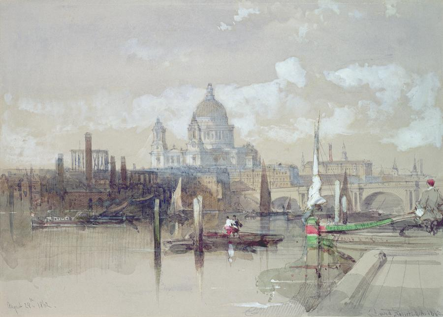 Saint Pauls From The River Painting  - Saint Pauls From The River Fine Art Print