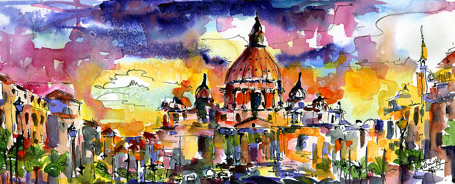 Saint Peter Basilica Rome Italy Painting