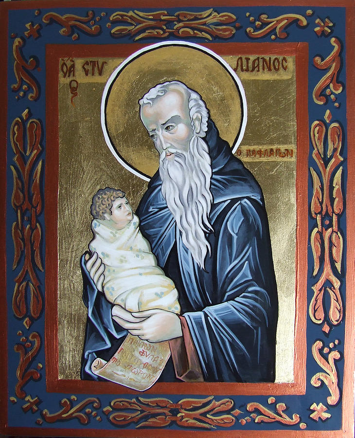 Saint Stelian - Patron Of Children Painting  - Saint Stelian - Patron Of Children Fine Art Print
