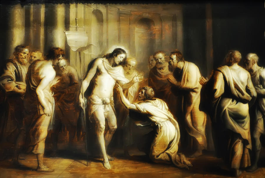 Saint Thomas Touching Christs Wounds Digital Art  - Saint Thomas Touching Christs Wounds Fine Art Print
