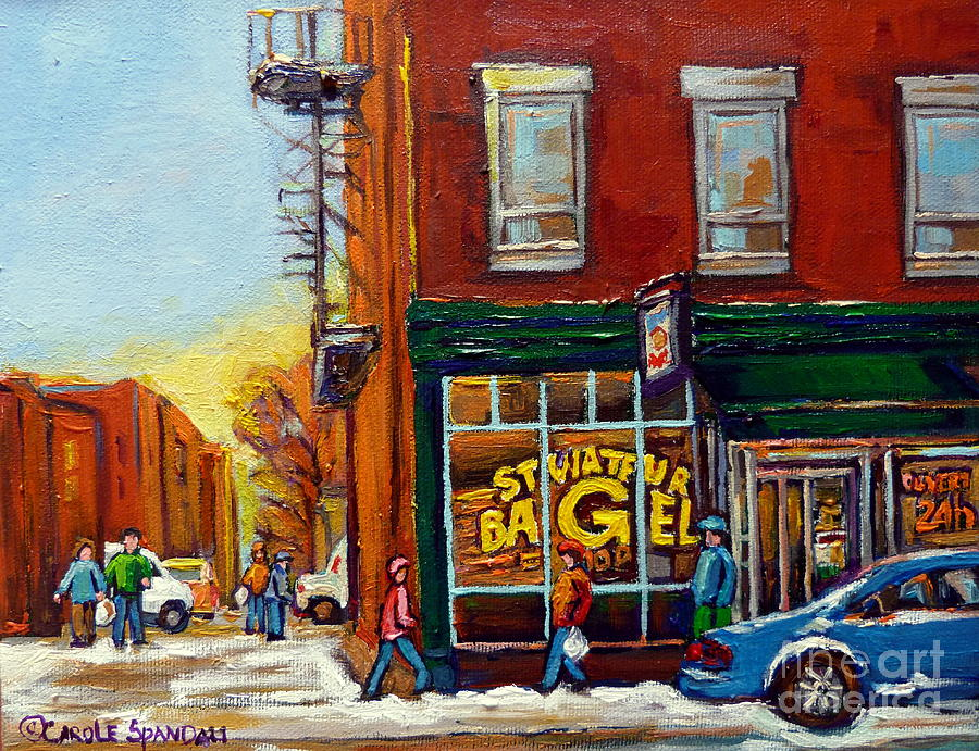 Saint Viareur And Park Avenue Bagel Shop Painting