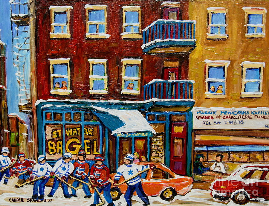 Saint Viateur Bagel With Hockey Painting