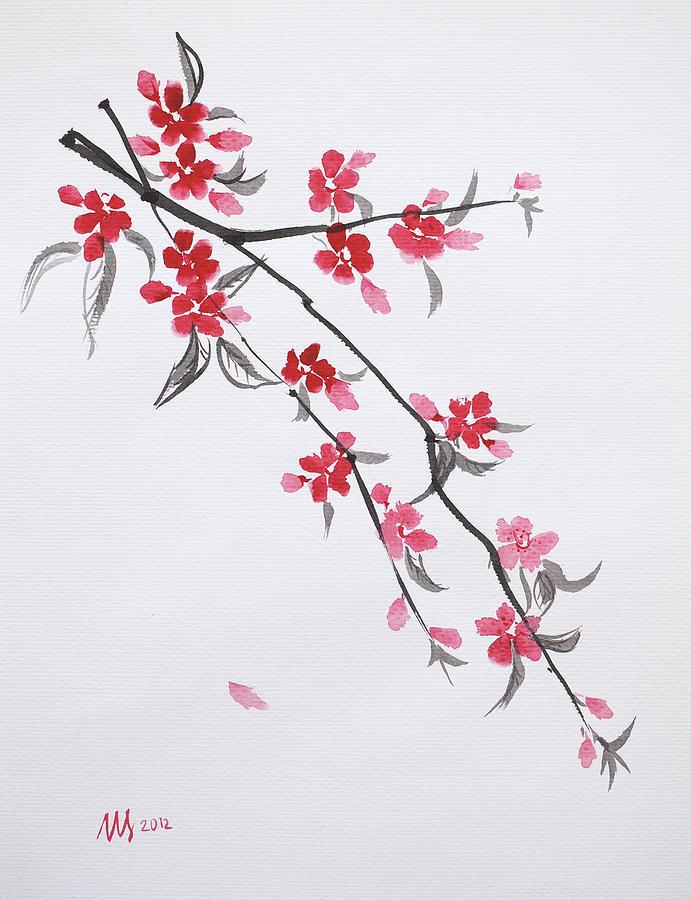 Sakura De Noche Painting by Angel Ortiz