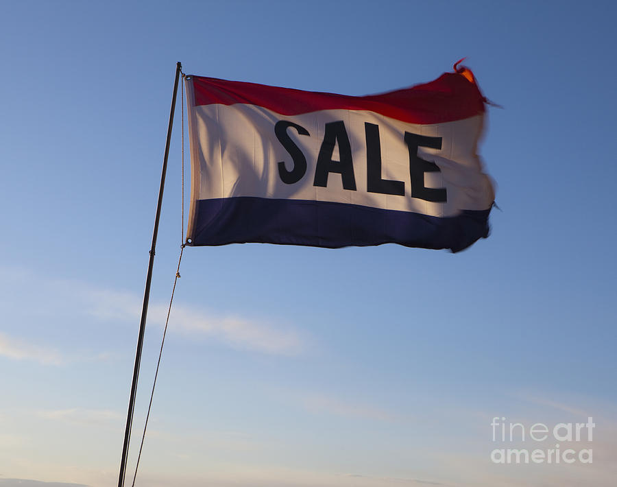 Sale Flag In The Wind Photograph  - Sale Flag In The Wind Fine Art Print