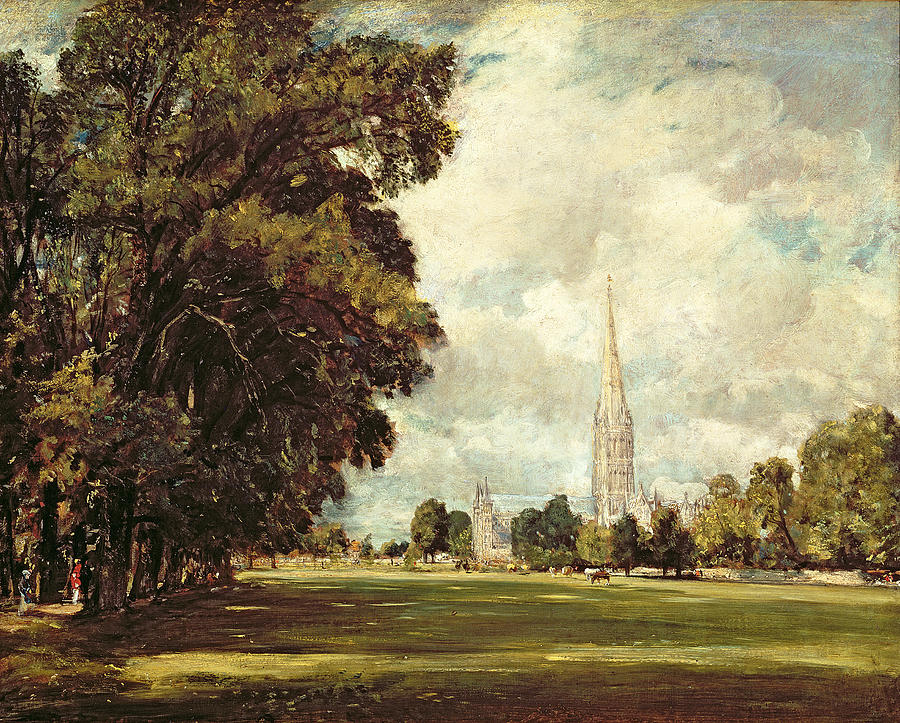 Salisbury Cathedral From Lower Marsh Close Painting  - Salisbury Cathedral From Lower Marsh Close Fine Art Print