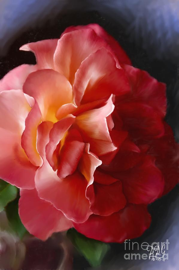 Salmon Colored Herringbone Blazer: Salmon Colored Rose With Yellow Core Digital Art By