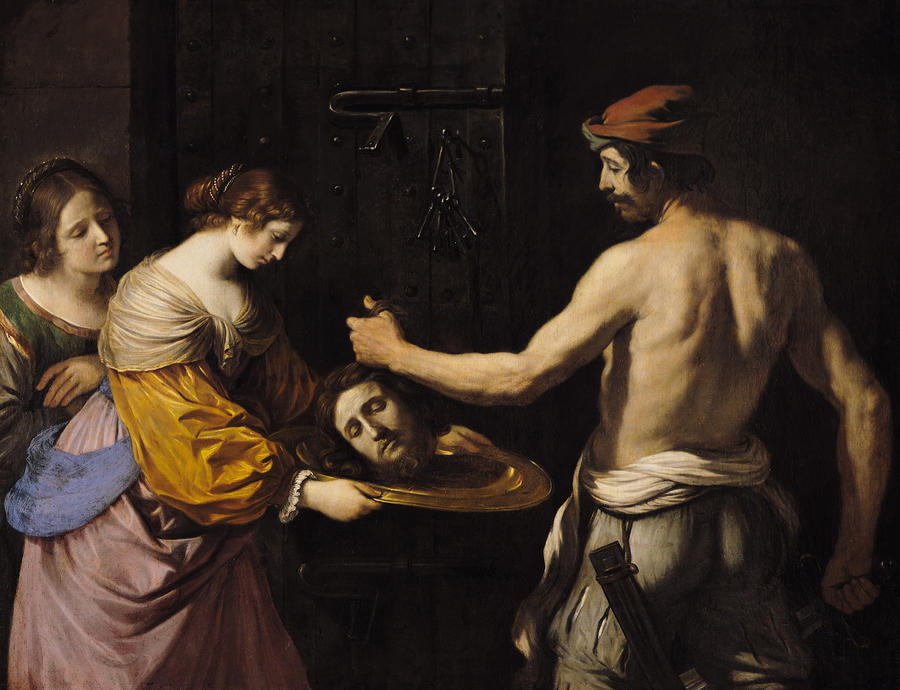 Salome Receiving The Head Of St John The Baptist Painting  - Salome Receiving The Head Of St John The Baptist Fine Art Print