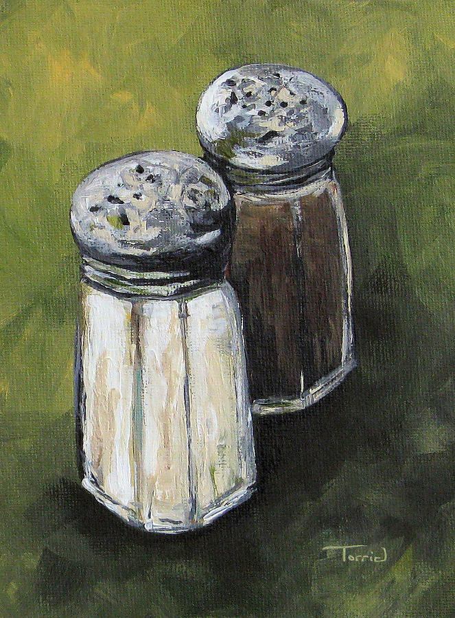 Salt And Pepper On Green Painting  - Salt And Pepper On Green Fine Art Print