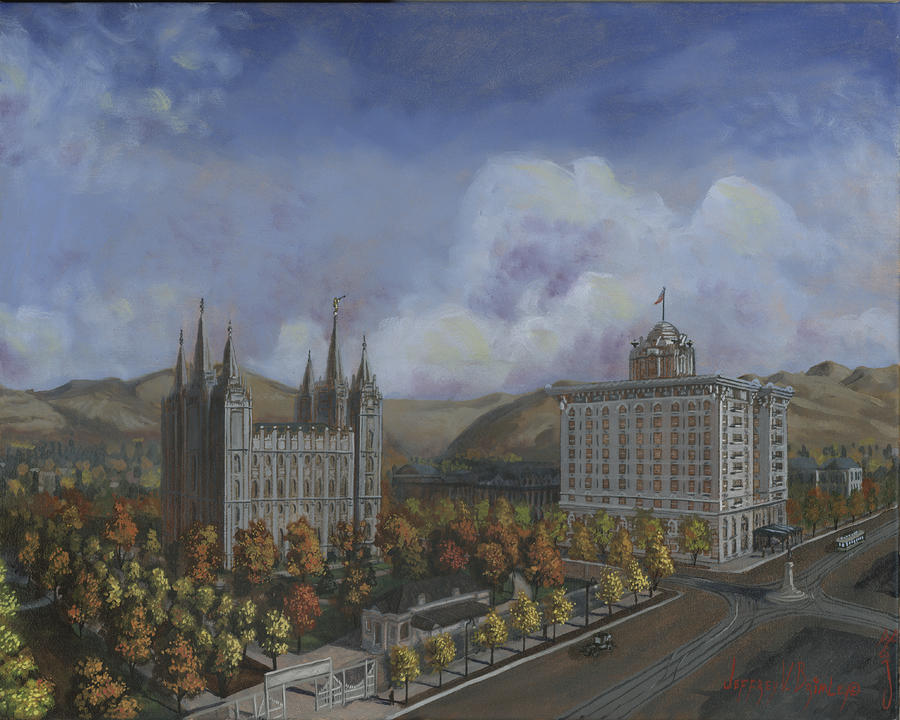 Salt Lake City Temple Square Nineteen Twelve Right Panel Painting  - Salt Lake City Temple Square Nineteen Twelve Right Panel Fine Art Print