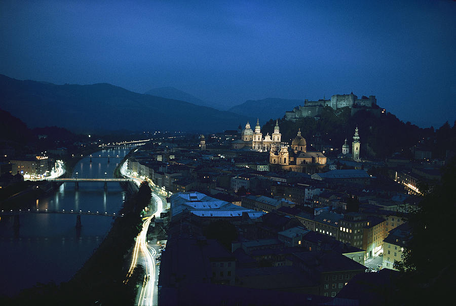 Salzburg, Austria, Night View Photograph