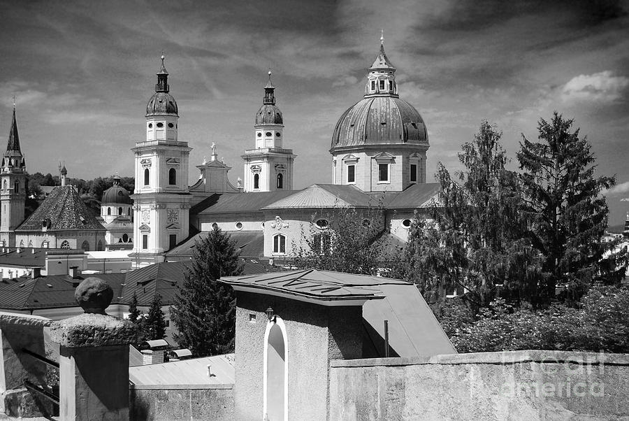 Salzburg Black And White Austria Europe Photograph  - Salzburg Black And White Austria Europe Fine Art Print